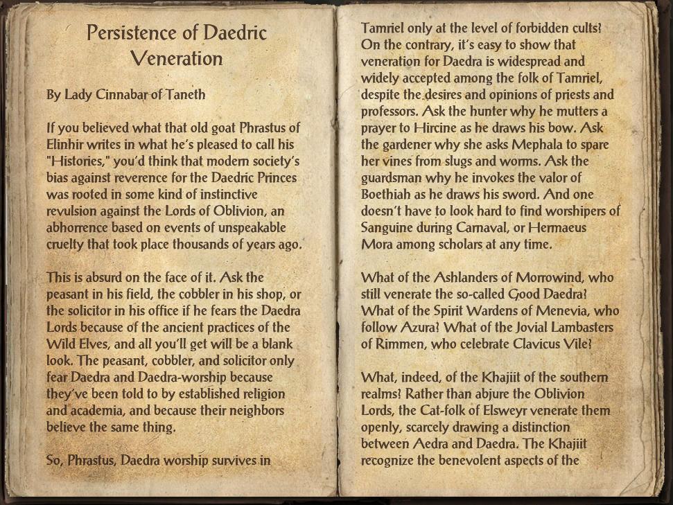 Persistence of Daedric Veneration