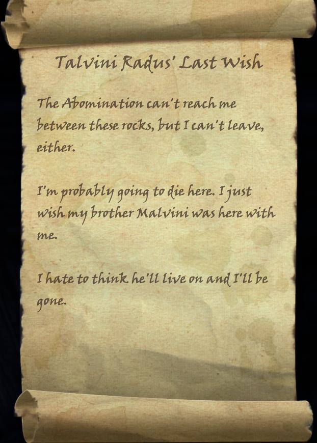 Talvini Radus' Last Wish