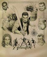 Cyrus, Basil, Richton, Tobias, N'Gasta, Iszara, Dram (Conceptart) by John Pearson