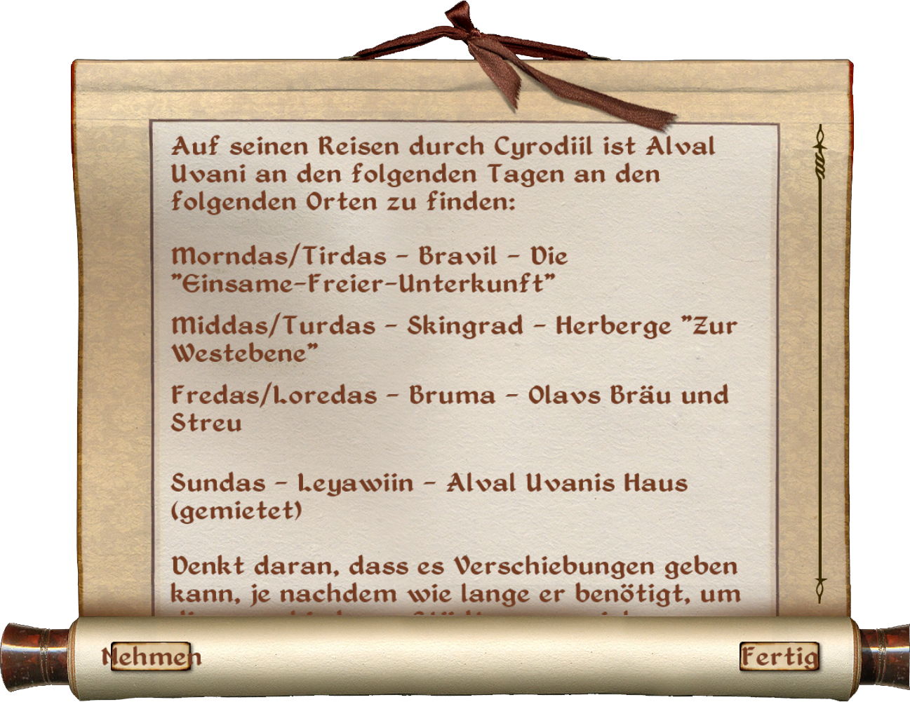 Alval Uvanis Zeitplan