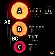 Обозначение объектов и тел звёздной системы wl
