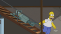 Homer Drags Bender Down the Stairs