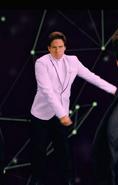 Elon Musk White Suit Flossing