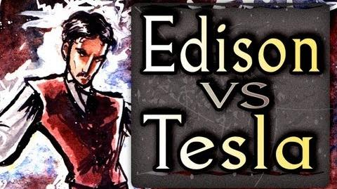 Edison VS Tesla - epic fanart of rap battles painting