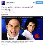 Criss Angel's Tweet