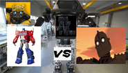 Optimus prime and bumblebee vs the iron giant