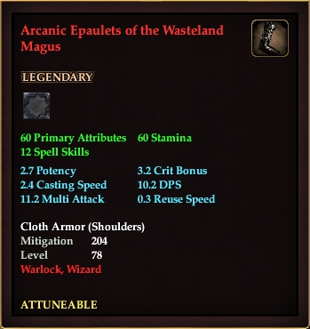 Arcanic Epaulets of the Wasteland Magus (Level 78)