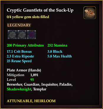 Cryptic Gauntlets of the Suck-Up (0 Gem)