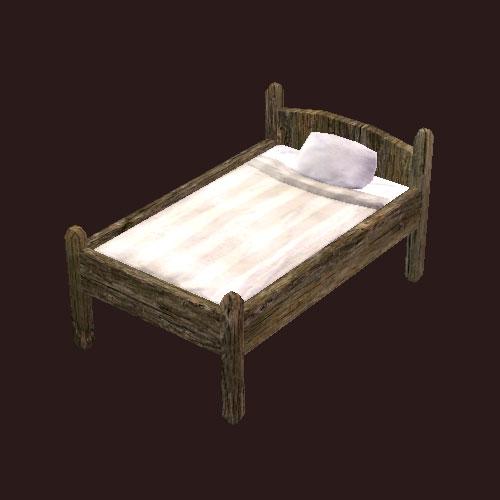 An oaken bed