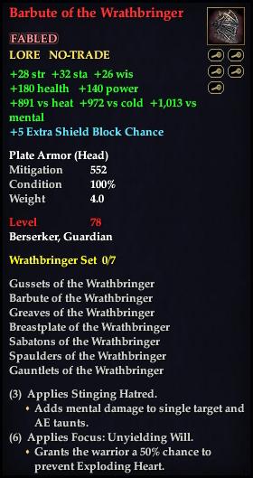Barbute of the Wrathbringer (Level 78)