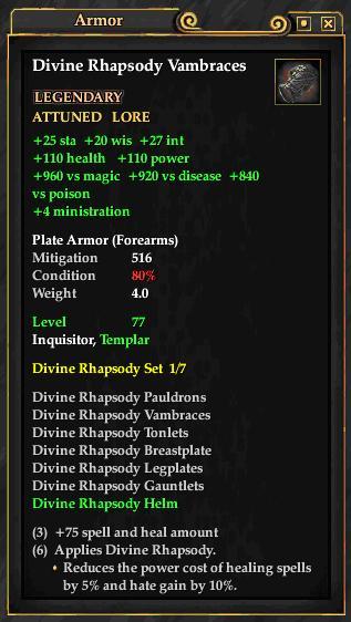 Divine Rhapsody Vambraces (Level 77)