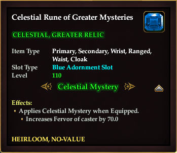 Celestial Rune of Greater Mysteries (Achievement Reward)