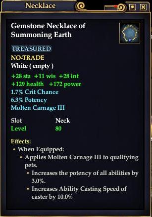 Gemstone Necklace of Summoning Earth