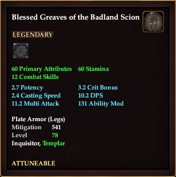 Blessed Greaves of the Badland Scion (Level 78)