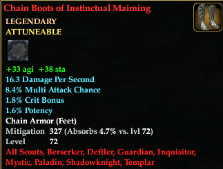 Chain Boots of Instinctual Maiming (Level 72)