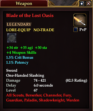 Blade of the Lost Oasis (Level 67)