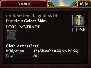 Opulent female gold skirt