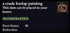 A crude burlap painting
