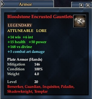 Bloodstone Encrusted Gauntlets