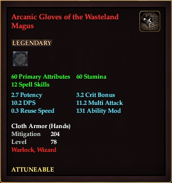 Arcanic Gloves of the Wasteland Magus (Level 78)