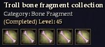 Troll bone fragment collection