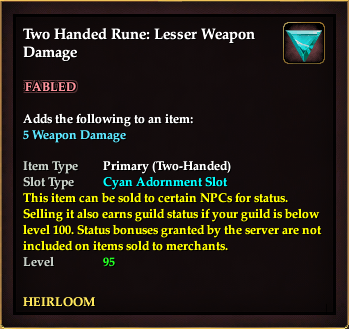 Two Handed Rune: Lesser Weapon Damage (5 Bonus)