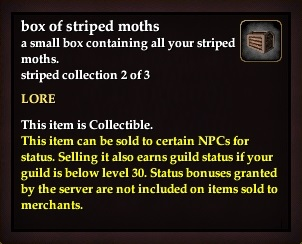 A box of striped moths