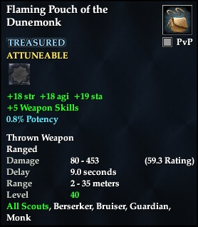 Flaming Pouch of the Dunemonk
