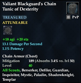 Valiant Blackguard's Chain Tunic of Dexterity