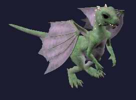 A green and purple baby dragon