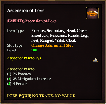 Ascension of Love (Orange, no-trade)