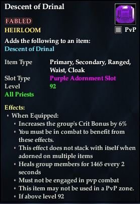 Descent of Drinal (92, Heirloom, purple, Fabled) (Crate Reward)