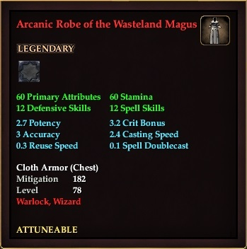 Arcanic Robe of the Wasteland Magus (Level 72)