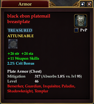 Black ebon platemail breastplate