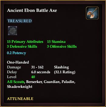 Ancient Ebon Battle Axe