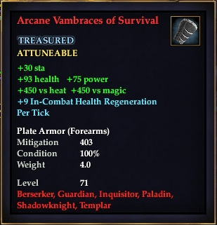 Arcane Vambraces of Survival