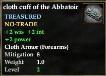 Cloth cuff of the Abbatoir