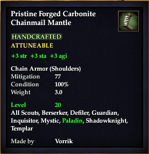 Carbonite Chainmail Mantle (Level 20) (Crafted)