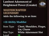 Lambent Adornment of Heightened Power (Greater)