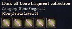 Dark elf bone fragment collection