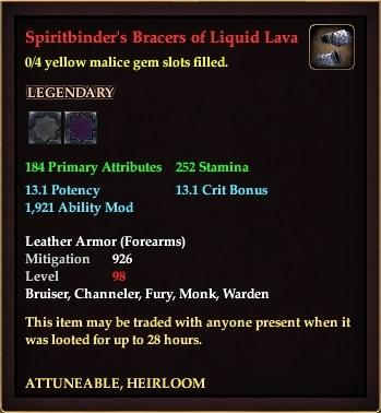 Spiritbinder's Bracers of Liquid Lava (0 Gem)