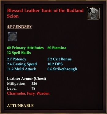 Blessed Leather Tunic of the Badland Scion (Level 78)