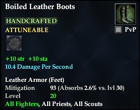 Boiled Leather Boots (Crafted) (Level 20)