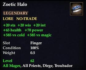 Zoetic Halo (Level 62)
