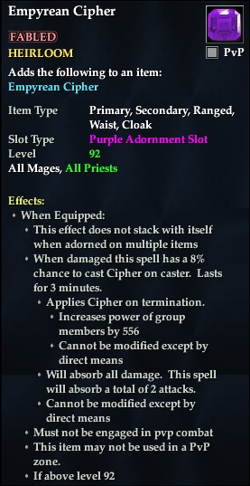 Empyrean Cipher (92, Heirloom, purple, Fabled) (Crate Reward)