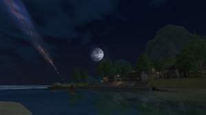 The Village of Shin by night with moon