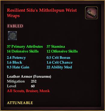 Resilient Sifu's Mithrilspun Wrist Wraps
