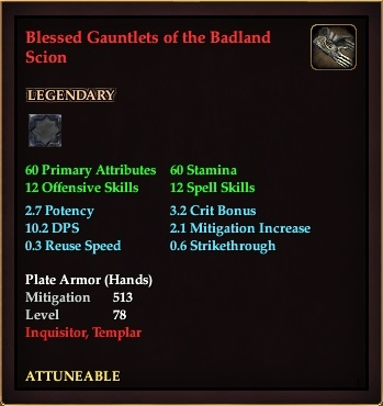 Blessed Gauntlets of the Badland Scion (Level 78)