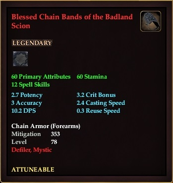 Blessed Chain Bands of the Badland Scion (Level 78)