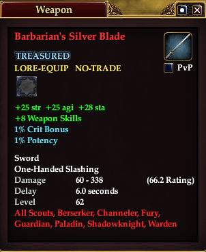 Barbarian's Silver Blade (Version 1)